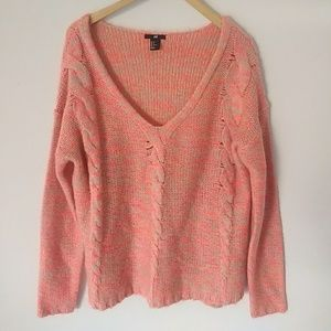 NWOT H&M Marled Chunky Cable Knit V Neck Sweater